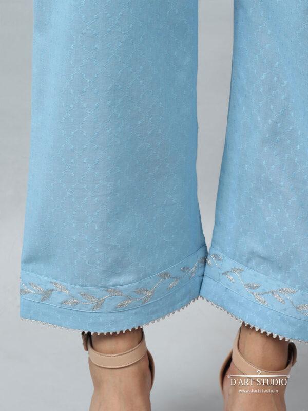 Hand Embroidered Blue Cotton Plazzo DARTSTUDIO4078