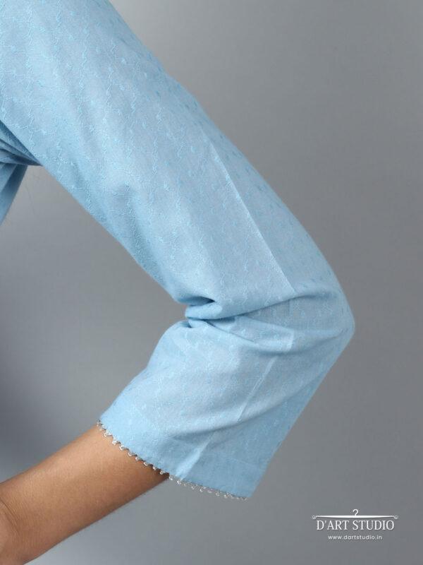 Hand Embroidered Blue Cotton Set of 2 DARTSTUDIO10060
