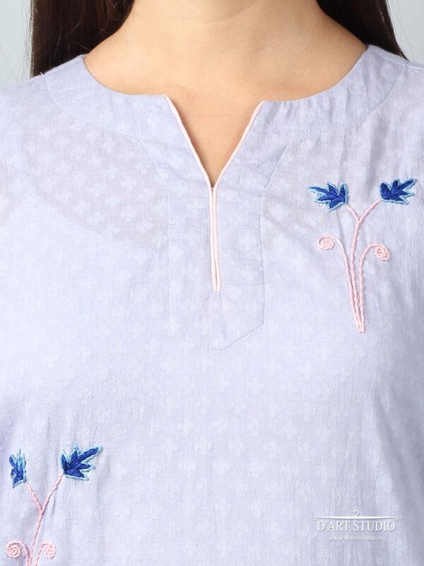 Hand Embroidered Blue Cotton Set of 2 DARTSTUDIO10068