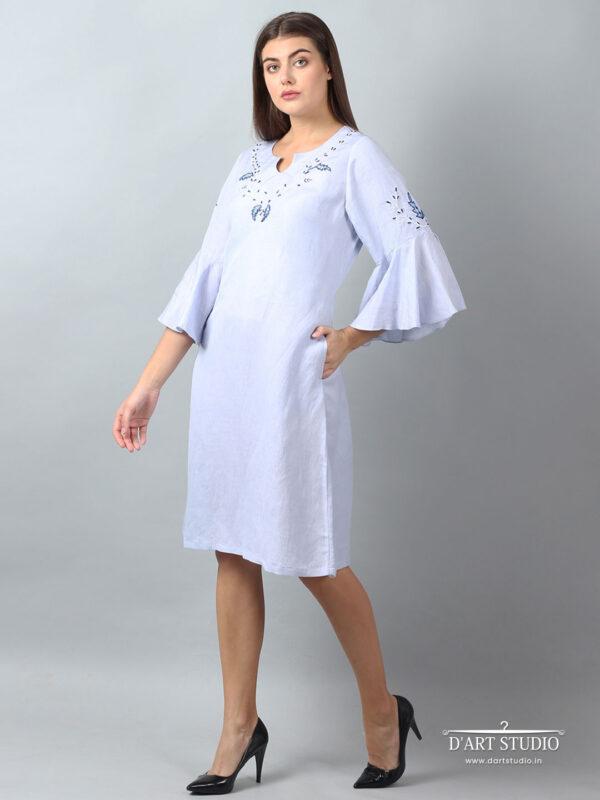 Hand Embroidered Blue Linen Dress DARTSTUDIO2141