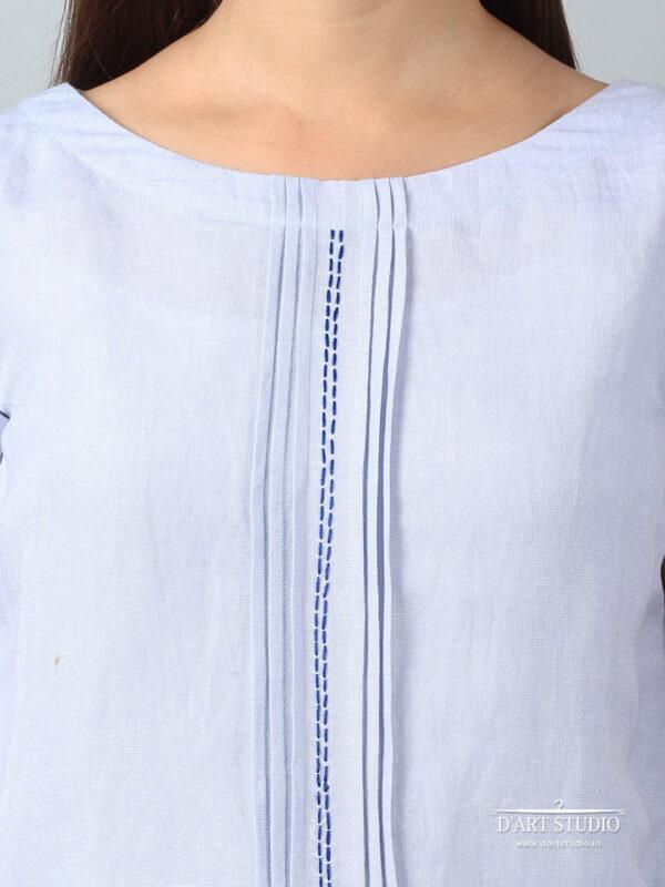 Hand Embroidered Blue Linen Top DARTSTUDIO1130