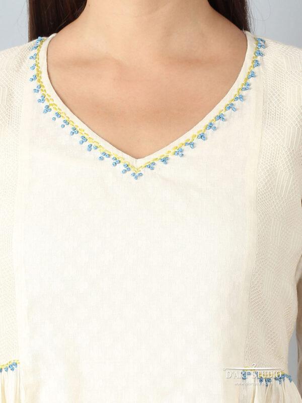 Hand Embroidered Cotton Dress DARTSTUDIO2134