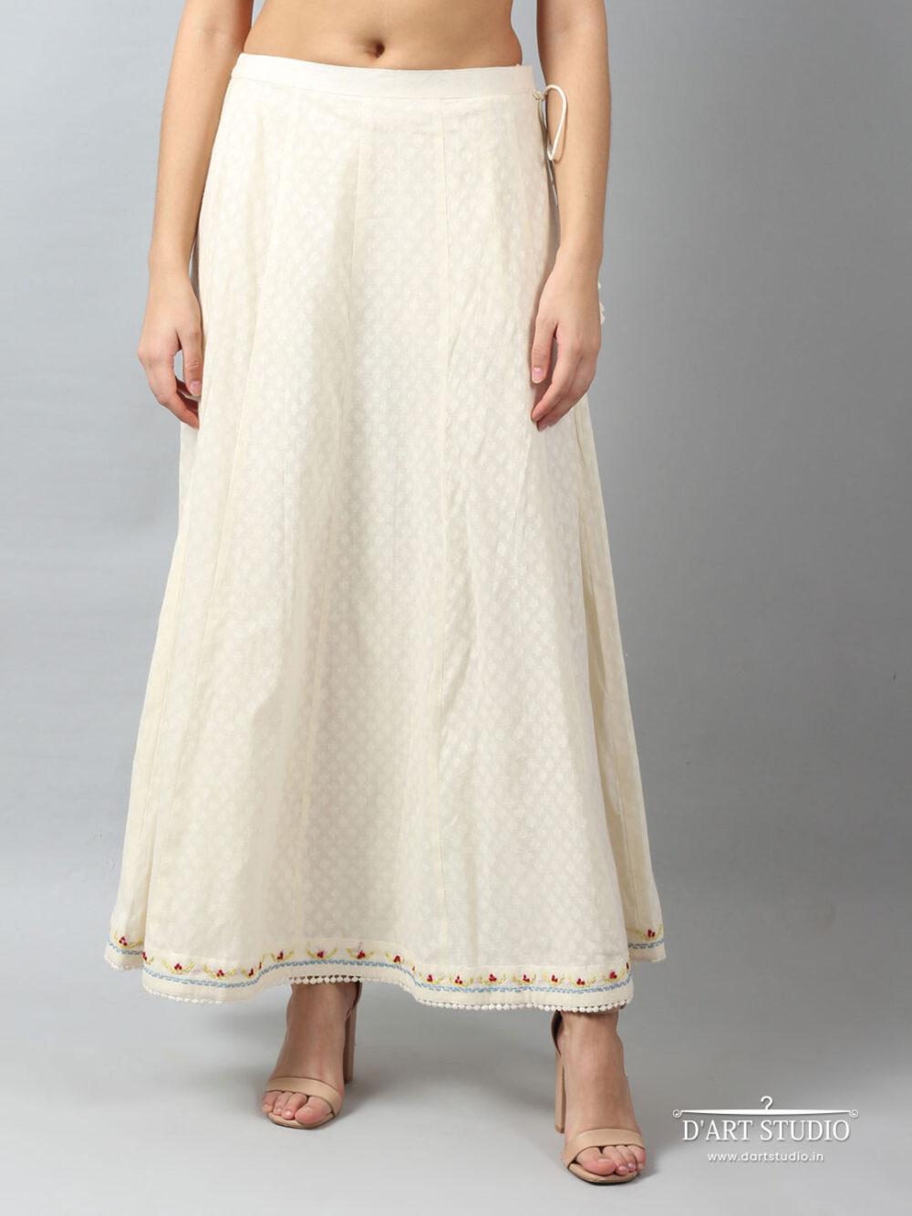 Hand Embroidered Cotton Skirt DARTSTUDIO6008