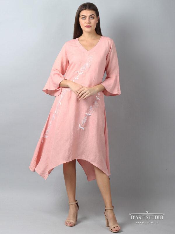 Hand Embroidered Peach Linen Dress DARTSTUDIO2142