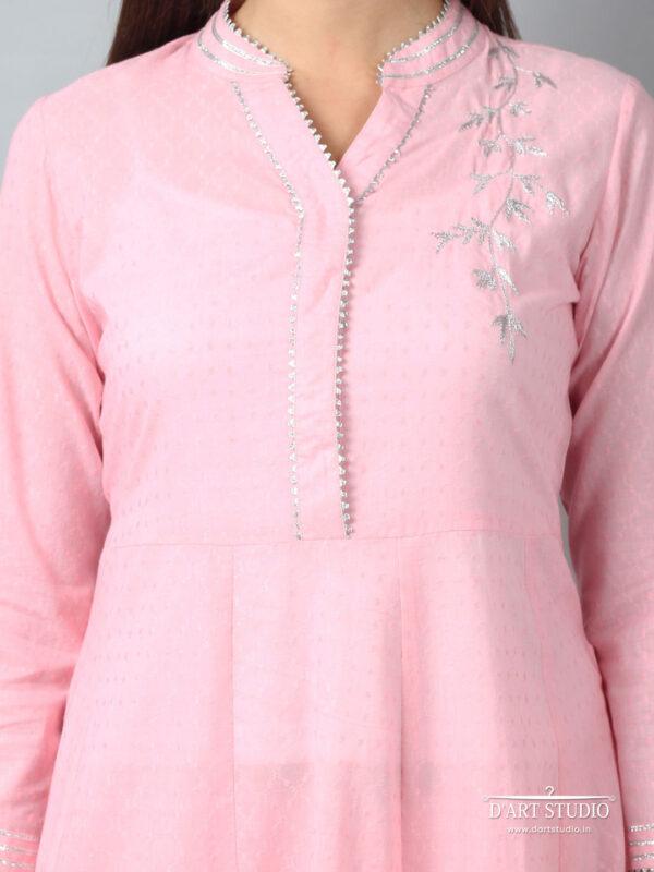 Hand Embroidered Pink Cotton Kurta DARTSTUDIO3217