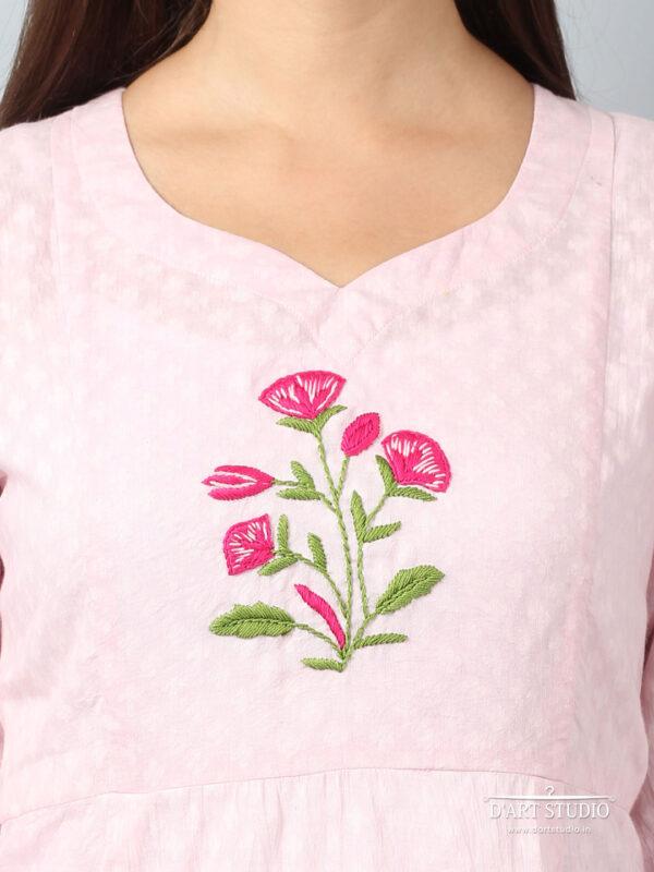 Hand Embroidered Pink Cotton Set of 2 DARTSTUDIO10070