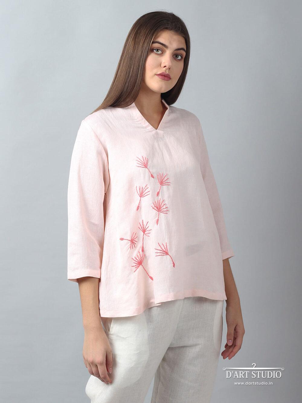 Hand Embroidered Pink Linen Top DARTSTUDIO1131