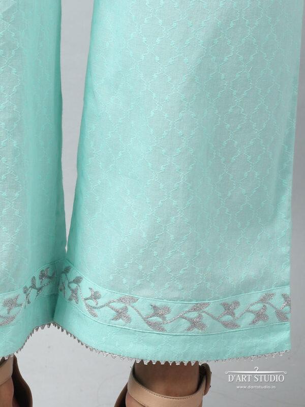 Hand Embroidered Sea Green Cotton Plazzo DARTSTUDIO4081
