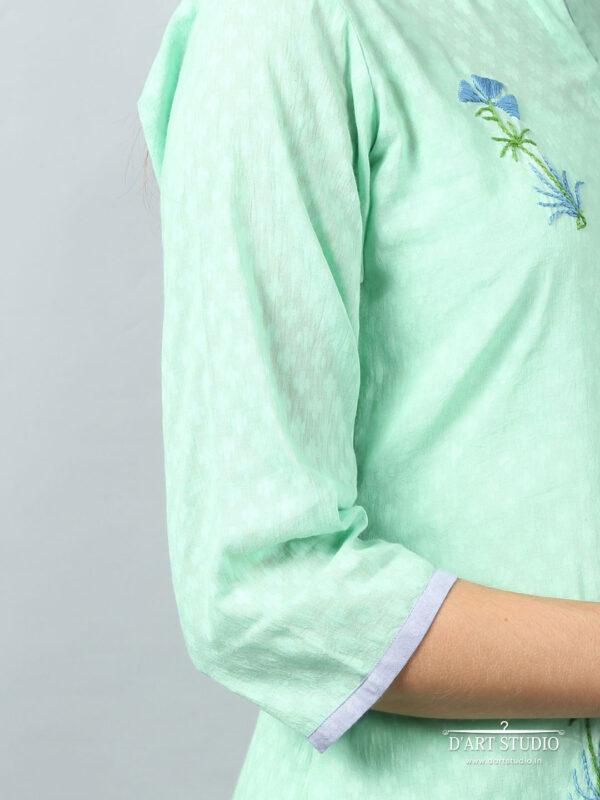 Hand Embroidered Sea Green Cotton Kurta DARTSTUDIO3225