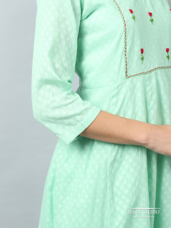 Hand Embroidered Sea Green Cotton Kurta DARTSTUDIO3233