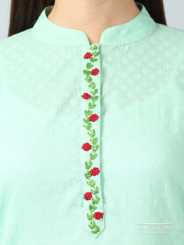 Hand Embroidered Sea Green Cotton Set of 2 DARTSTUDIO10073