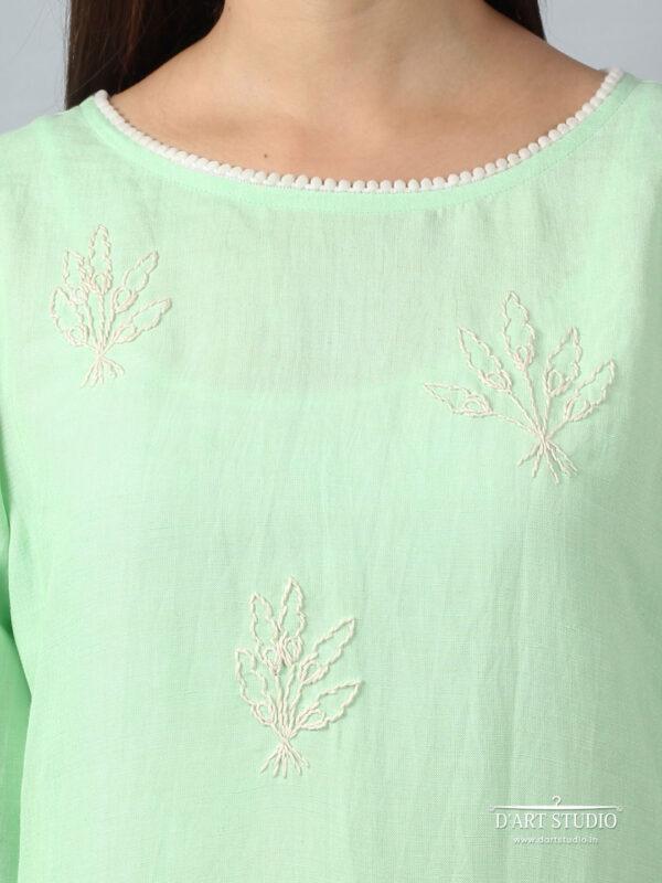 Hand Embroidered Green Linen Kurta DARTSTUDIO3214