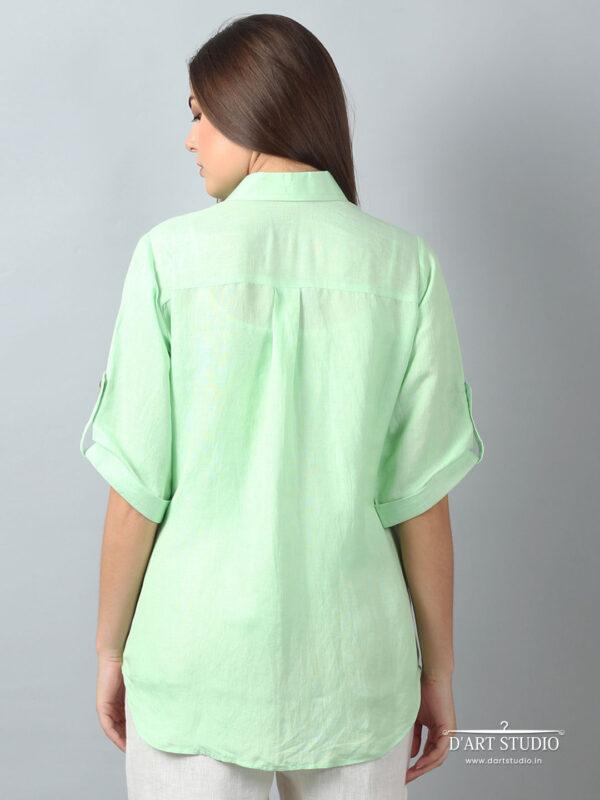 Hand Embroidered Green Linen Top DARTSTUDIO1132