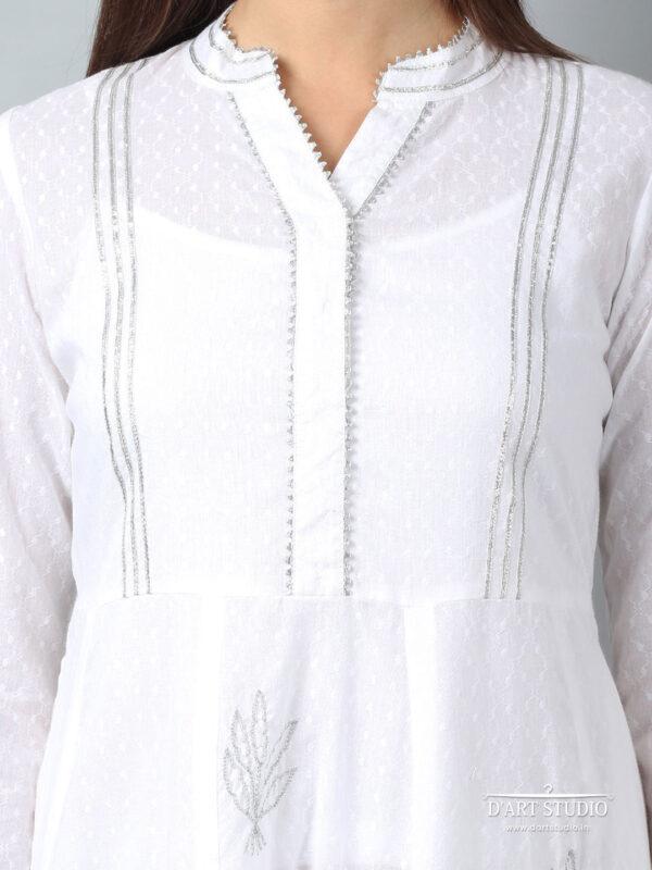 Hand Embroidered White Cotton Kurta DARTSTUDIO3222