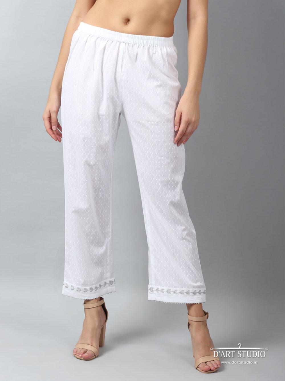 Hand Embroidered White Cotton Plazzo DARTSTUDIO4082