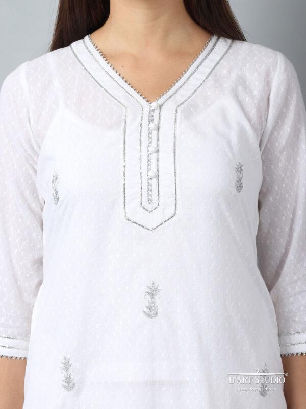 Hand Embroidered White Cotton Set of 2 DARTSTUDIO10064