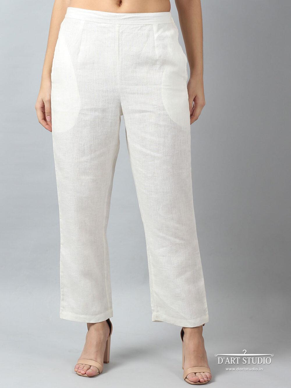 Hand Embroidered White Linen Pants DARTSTUDIO4052