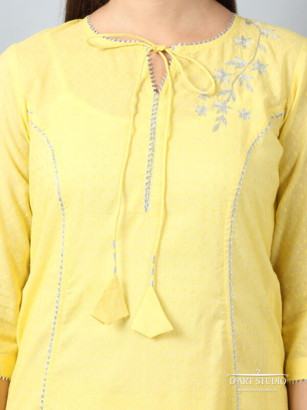 Hand Embroidered Yellow Cotton Kurta DARTSTUDIO3218