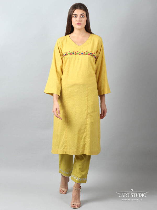 Hand Embroidered Yellow Cotton Kurta DARTSTUDIO3223