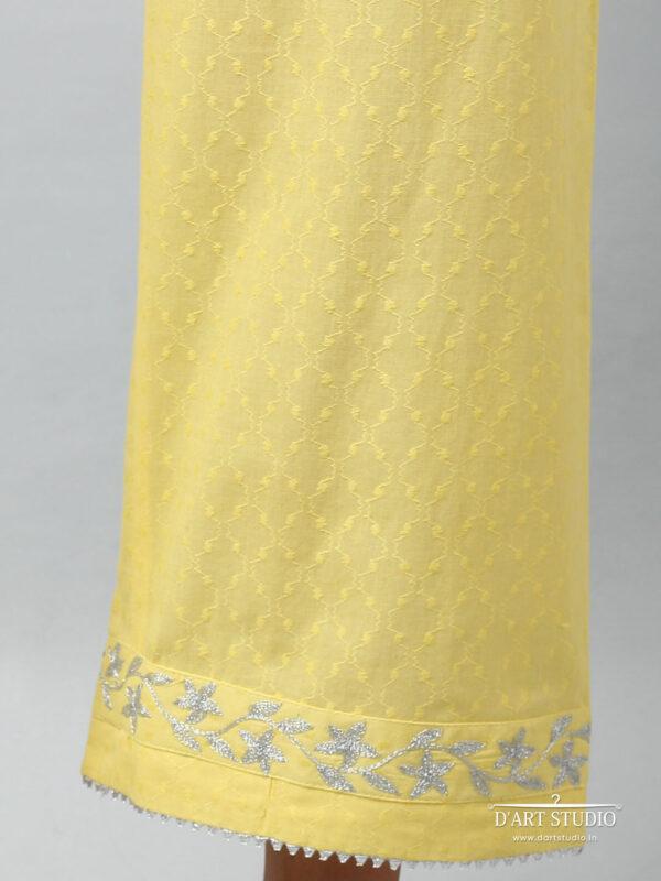 Hand Embroidered Yellow Cotton Plazzo DARTSTUDIO4080