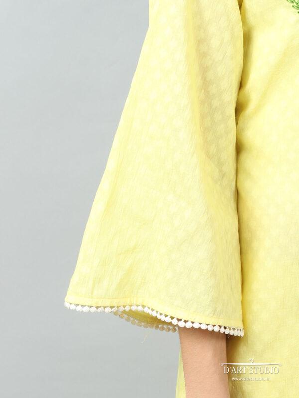 Hand Embroidered Yellow Cotton Set of 2 DARTSTUDIO10072