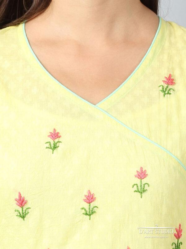 Hand Embroidered Yellow Cotton Plazzo DARTSTUDIO4086