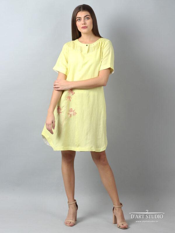 Hand Embroidered Yellow Linen Dress DARTSTUDIO2144