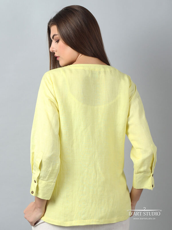 Hand Embroidered Yellow Linen Top DARTSTUDIO1128