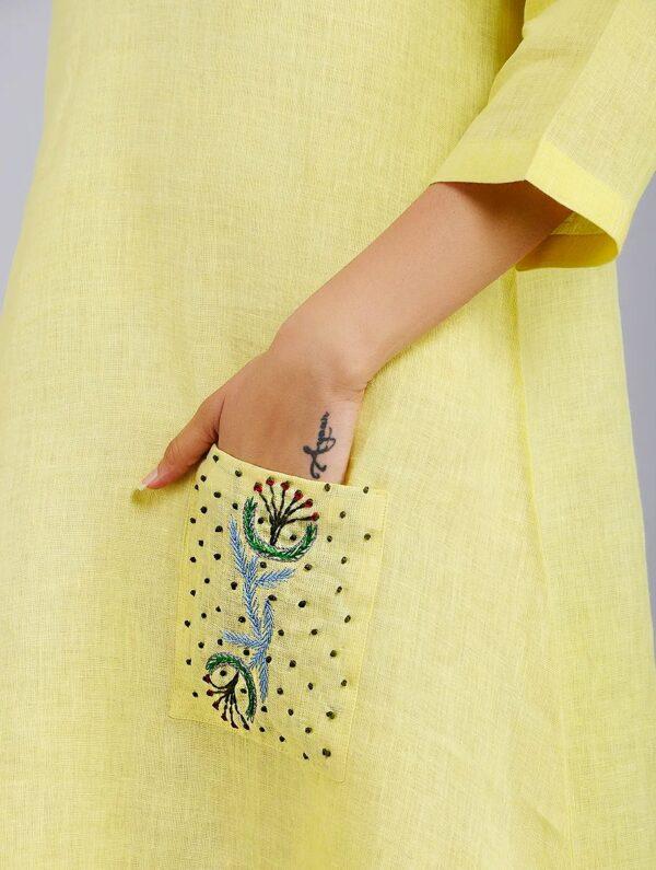 Hand Embroidered Yellow Linen Dress DARTSTUDIO DS2101