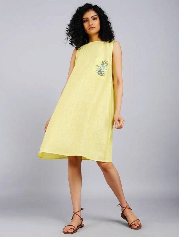 Hand Embroidered Yellow Linen Dress DARTSTUDIO DS2102