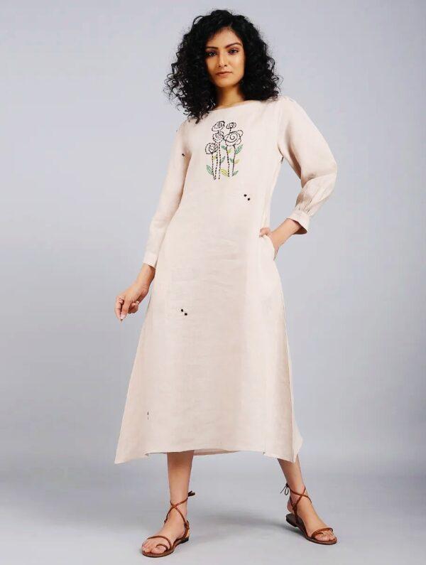 Hand Embroidered Beige Linen Dress DARTSTUDIO DS2103