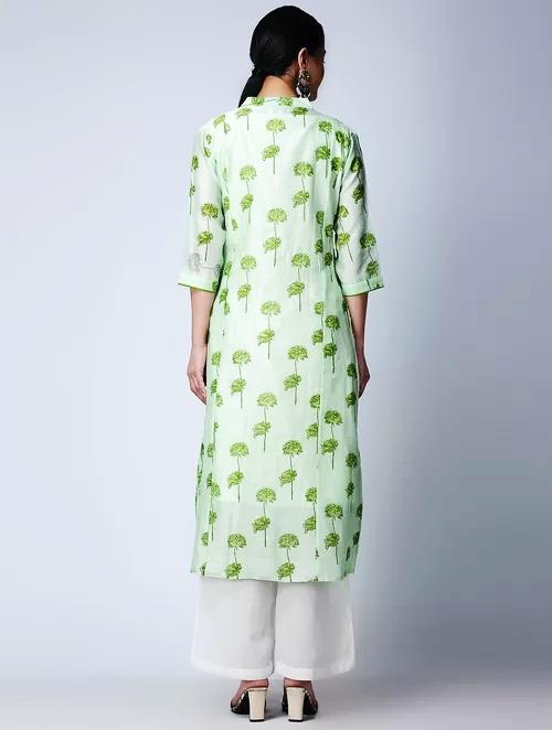 Hand Block Printed Green Chanderi Kurta DARTSTUDIO DS3126