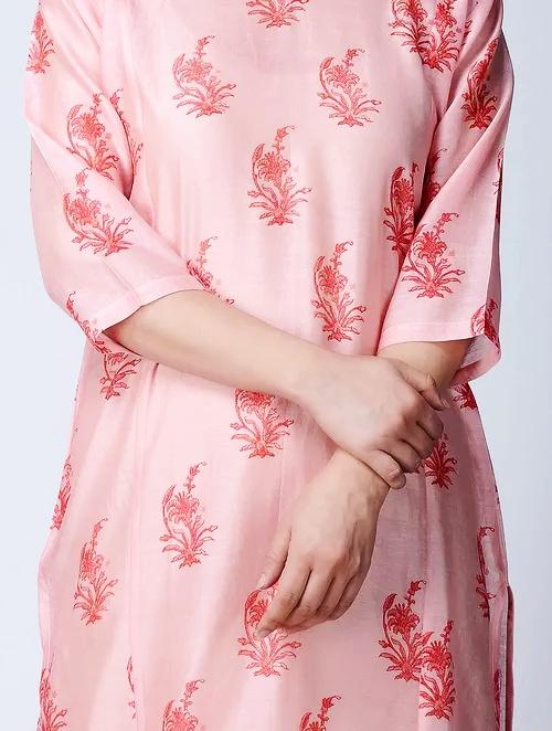 Hand Block Printed Pink Chanderi Kurta DARTSTUDIO DS3130