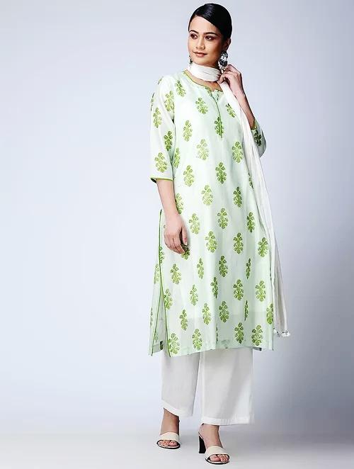 Hand Block Printed Green Chanderi Kurta DARTSTUDIO DS3133