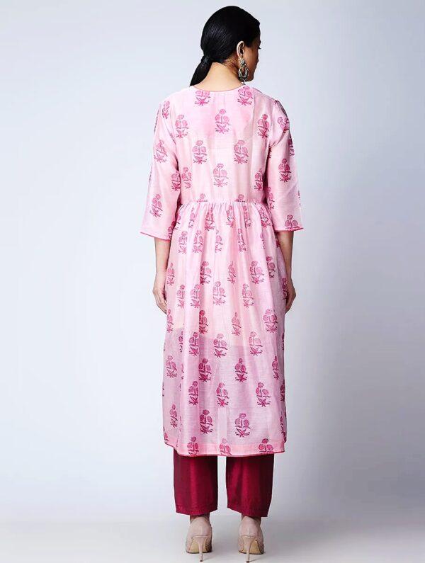 Hand Block Printed Pink Chanderi Kurta DARTSTUDIO DS3135