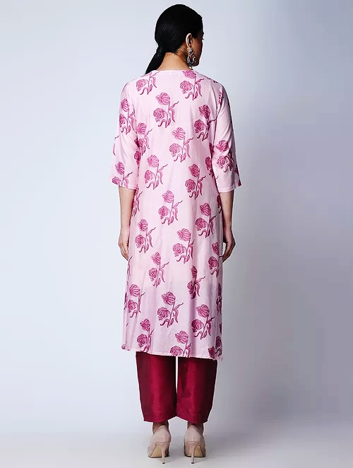 Hand Block Printed Pink Chanderi Kurta DARTSTUDIO DS3140