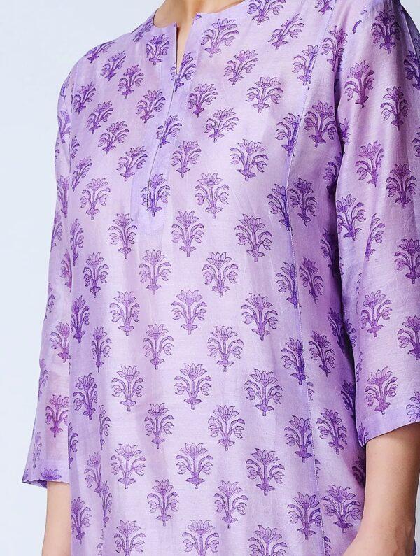 Hand Block Printed Purple Chanderi Kurta DARTSTUDIO DS3141