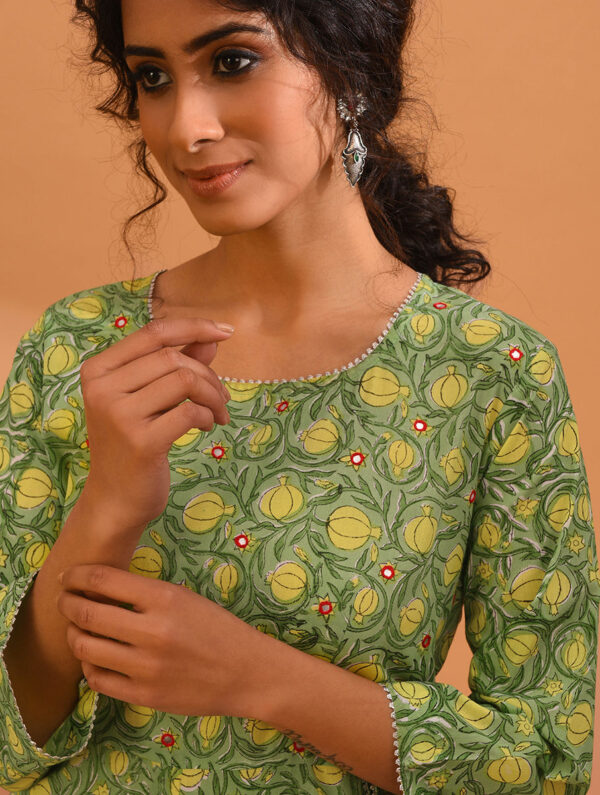 Hand Block Printed and Hand Embroidered Yellow Green Cotton Kurta DARTSTUDIO DS3238