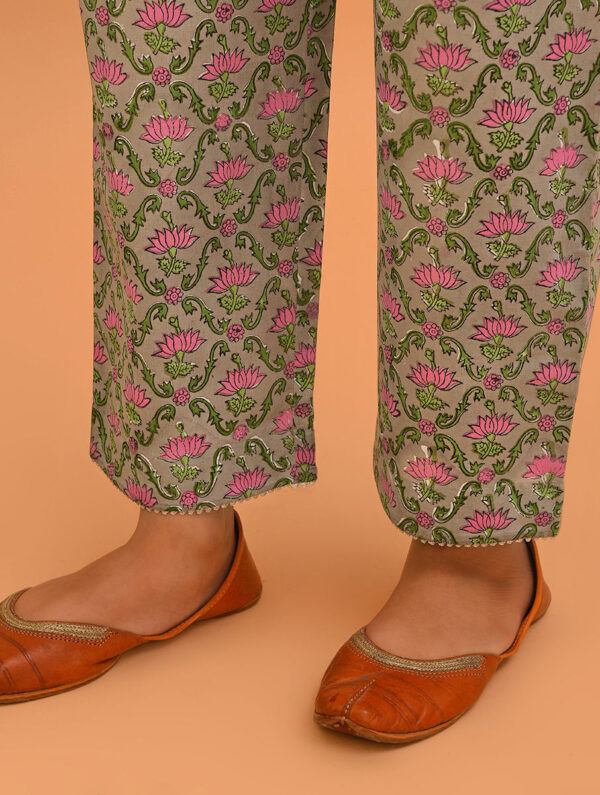 Hand Block Printed Green Pink Cotton Plazzo DARTSTUDIO DS4092