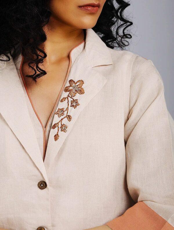 Hand Embroidered Beige Linen Overlay DARTSTUDIO DS5007