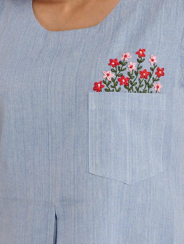 Hand Embroidered Blue Cotton Dress DARTSTUDIO DS2124