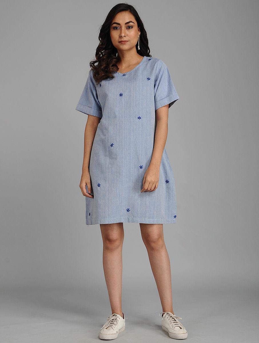 Hand Embroidered Blue Cotton Dress DARTSTUDIO DS2125