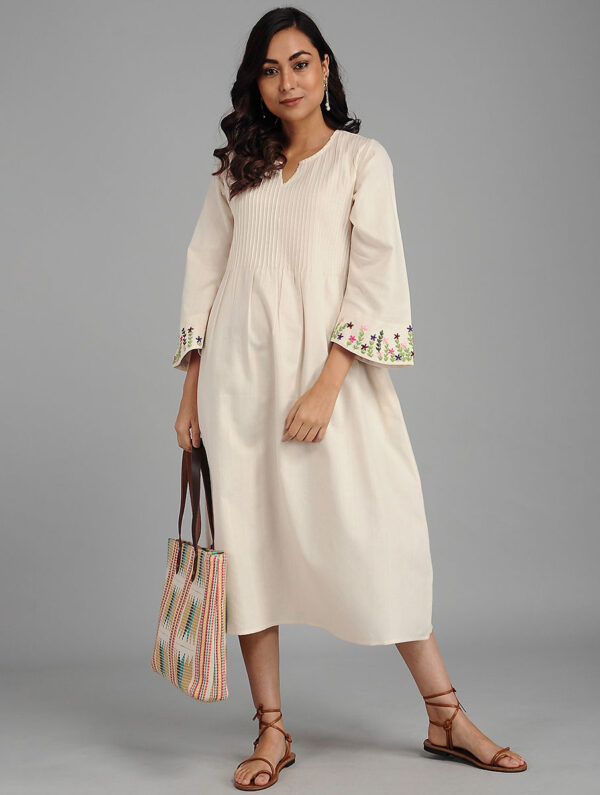 Hand Embroidered White Cotton Dress DARTSTUDIO DS2126