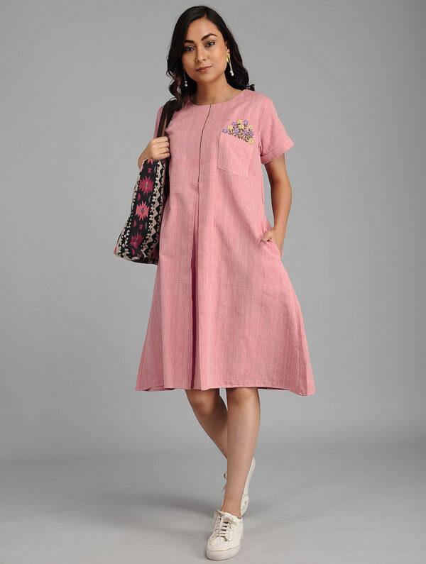 Hand Embroidered Pink Cotton Dress DARTSTUDIO DS2128