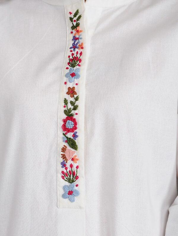 Hand Embroidered White Cotton Top DARTSTUDIO DS1107