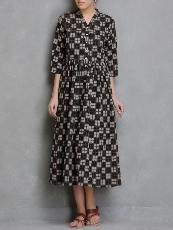 Hand Block Printed Brown Dabu Dress DARTSTUDIO DS2004