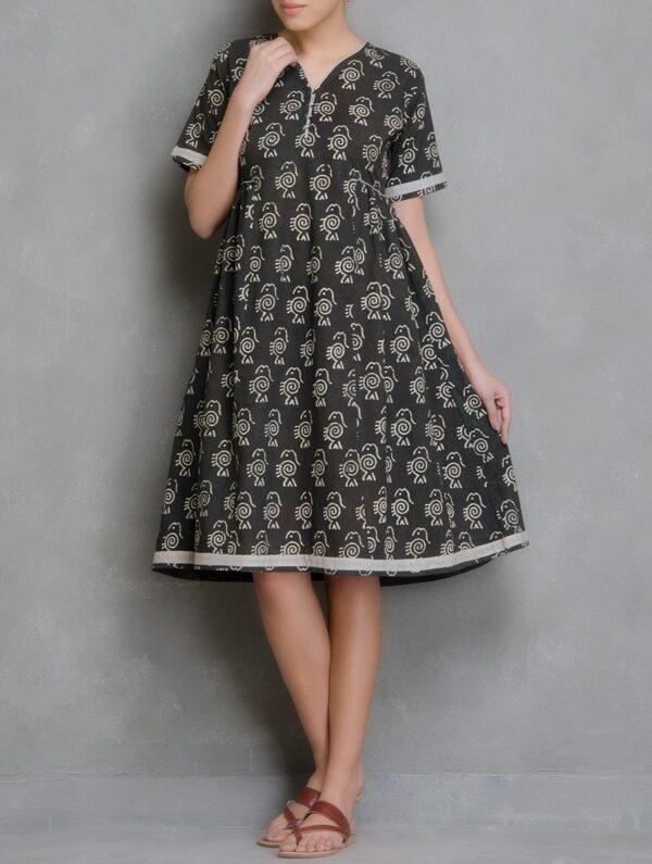 Hand Block Printed Charcoal and Ivory Dabu Dress DARTSTUDIO DS2010