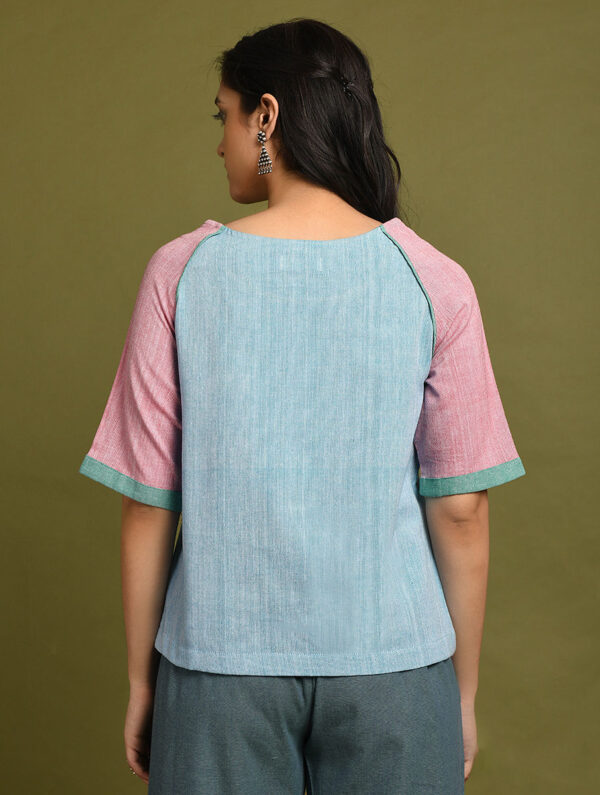 Hand Embroidered Blue Pink Cotton Top DARTSTUDIO DS1120