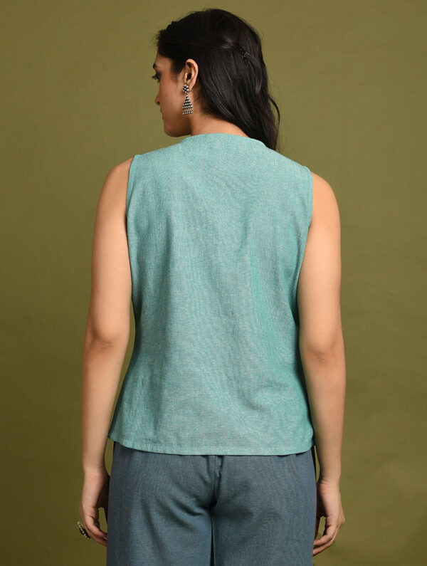 Hand Embroidered Blue Green Cotton Top DARTSTUDIO DS1123