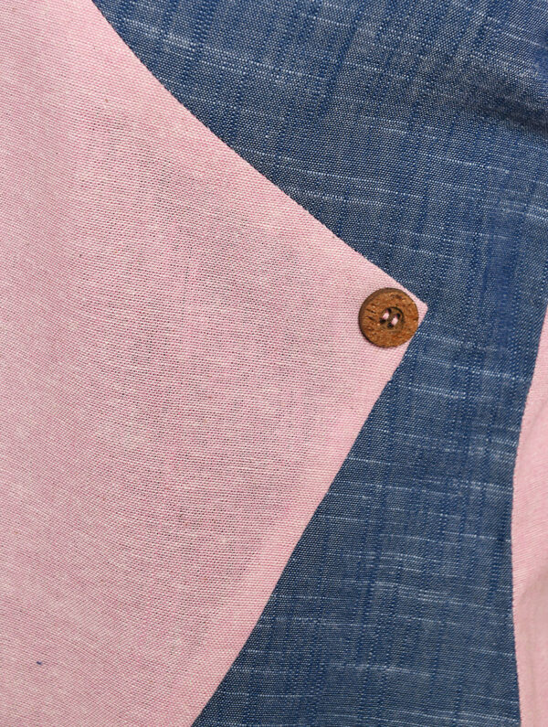 Hand Embroidered Blue Pink Cotton Top DARTSTUDIO DS1124